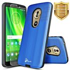 For Motorola Moto G6/Plus/G6 Play/Forge Dual Layer Case Cover + Tempered Glass