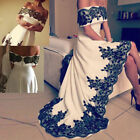 New White Black Lace Satin High Low Formal Evening Pageant Party Prom Dresses