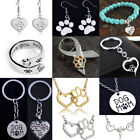 Paw Earrings Necklace Bracelet Ring Silver Jewellery Sets Dog Pet Lover Gifts