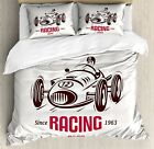 Ambesonne Cars Duvet Cover Set Queen Size, Retro Style Ra...