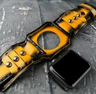 Yellow and atrocious leather watch band, Leather troop for your apple watch