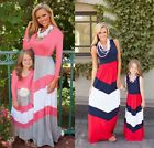 Mother and Daughter Casual Boho Stripe Maxi Dress MommyMe Matching Outfits 33