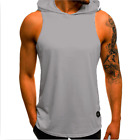 Men Sports Gym Plain Tank Top Hoodie Fitness Pullover Sleeveless Sweatshirt Vest