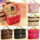 US 2 Layer Lage Space Travel Handbag Cosmetic Organizer Case Pouch Dots Bags