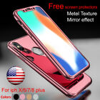Hybrid 360° Hard Ultra Thin Mirror Case Tempered Glass Cover For iPhone X/8 Plus
