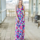 US Women Printing Round Neck Sleeveless Vest Dress Casual Floral Maxi Dresses