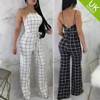 Summer Sexy Women's Spaghetti Strap Plaid Backless Jumpsuits Overalls with Belt