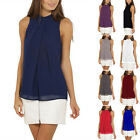 Plus Size Women Halter Neck Sleeveless Chiffon Vest T-Shirt Blouse Loose Top 02