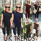 UK Womens Button Wide Leg Trousers V Neck Plunge Jumpsuits Playsuit Culotte 6-14