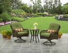 Bistro Set 3 Piece Wicker Swivel UV Cushion Outdoor Patio Furniture Deck Pool
