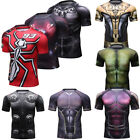 Mens Marvel Superman Shirts Compression Costume Cosplay Athletic Sports Gym Top