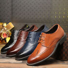 Mens Oxfords Brogue Leather Formal Casual Dress Lace up Wing Tip Wedding Shoes