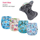 Bamboo Charcoal Ultrathin Newborn Baby Diapers NB AIO Cloth Diaper Fit 6-11LB