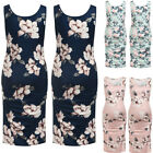 Women's Mama Ruched Maternity Bodycon Dress Causual Sleeveless Wrap Dresses