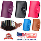 Unisex Genuine Leather Credit Card Business Card Holder Accordion Style Wallet image