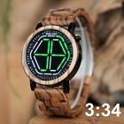 LED Men Wooden Bamboo Watches Digital Watch Wood Calendar Cool Quartz Wristwatch