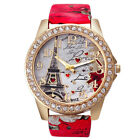 Fashion Women 's Paris Eiffel Leather Band Leather Round Wrist Watches image
