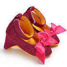 US STOCK Newborn Baby Girl High Heels Soft Sole Toddler Bow Princess Crib Shoes