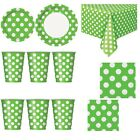 Green Colour Spot Polka Dot Disposable TABLEWARE Events Catering Birthday Party