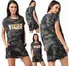 Womens Gold Foil Slogan Vogue Print Casual Shirt Ladies Camouflage Dress Top