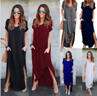 New Women's Short Sleeve V Neck Pocket Casual Side Split Beach Long Maxi Dress