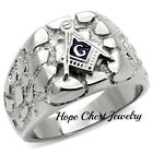 MENS'S SILVER TONE STAINLESS STEEL NUGGET STYLE MASONIC RING SIZE 11