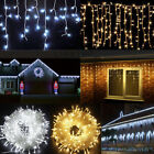 3.5-100M LED Icicle Hanging Christmas Bulbs String Fairy Curtain Lights 220/110V
