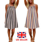 Uk Womens Holiday Strappy Dresses Ladies Summer Beach Swing Sun Dress Plus Size