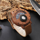 Compass Turntable Number Design Men Wooden Watch Unique Wood Leather Band Watch image