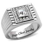 HCJ Silver Stainless Steel Princess Cut Solitaire Men's Crystal Ring Size 9, 10