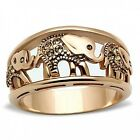 Women's Elephant Caravan Crystal Citrine Yellow Gold Plated Fashion Ring S 6-10