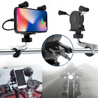 Universal Motorcycle Cell Phone Handlebar Mount Holder USB C