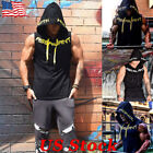 US Mens Muscle Hoodie Tank Top Gym Workout Sleeveless Vest T-shirt Bodybuilding image