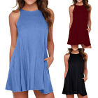 Women's Casual Solid O-Neck Swing Simple Sleeveless Pocket T-Shirt Camis Dress