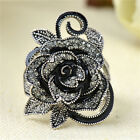 Women Retro Rose Flower Ring Black Crystal Vantige Big Flower Rings Jewelry Zy