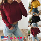 Women Sweatshirt Sweater Plain Basic Crop Top Coat Sports Pu