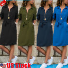 Women's Long Sleeve V Neck Shift Midi Dress Casual Loose Pocket Long T Shirts US
