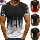 Men Slim Fit O Neck Short Sleeve Muscle Tee Shirts Casual T-shirt Tops Blouse US image