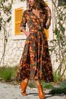UK Boho Women Summer Holiday Floral Maxi Dress V-neck Long Shirt Dress Size 6-20