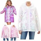 Womens Holographic Hooded Lightweight Zipped Neon Kagool Mac Raincoat Jacket