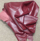 Z57 Leather Cow Hide Cowhide Upholstery Craft Fabric Nuance Burgundy
