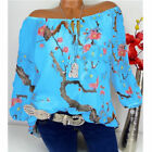 Plus Size Womens Floral Off Shoulder Blouse Ladies Casual Loose Tunic Tops 6-24