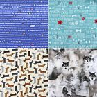 Robert Kaufman Brand Sausage Wolves Dogs Words Cotton Fabric FQ or Per Meter
