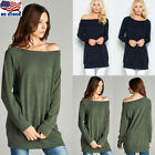 Women Loose Blouse Long Sleeve Off Shoulder Casual T-Shirt Pullover Sweatshirts