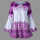 Women&#039;s Long Bell Sleeve Tops Lace Up Casual Tunic Floral Print Shirt Blouse US <br/> ❤️US Seller❤️60 Days Free Return❤️EXTRA 15% OFF 2+ ITEM