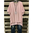 Women Ladies Plus Size Loose V Neck Short Sleeve Solid Color Tops Blouse T-shirt