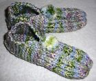 SLIPPERS~Knitted~Acrylic~Washable~Removable Pom Pom~Colors Vary~Adult 6-7~NEW