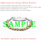 Personalized Medical Alert ID Bracelet Byzantine Chain Two-Tone Stainless Steel