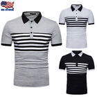 Men's Casual Slim Fit Shirt Tee Short Sleeve Summer Stylish T-shirts Tops USA image