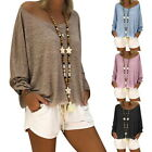 Womens Boho Cotton Blouses Round Neck Batwing Sleeve Loose Casual Solid Tops HX